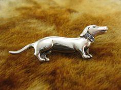 Pin  Brooch  Sterling Silver  Dachshund by Worldwideoddities, $39.95
