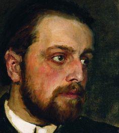 Ilya Repin Portrait of writer Vladimir Chertkov (detail) c. 1890