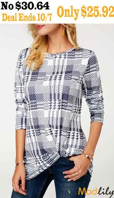 67304e39c7e27a Plaid Print Long Sleeve Twist Front T Shirt On Sale At Modlily. Free  shipping.