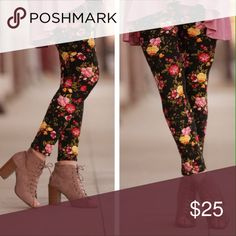 Spring Floral Leggings Comfy and beautiful leggings from Infinity Raine. These feature nice Spring floral pattern. Pairs well with red, pink, and yellow tunics or dresses. These are truly great for year around. Just add your favorite black heels, sandals, or boots. 92% polyester. 8% spandex. Fits size 2-12 comfortably. Items are usually shipped same or next day.  Boutique prices are firm. Bundle to save. Infinity Raine Pants Leggings