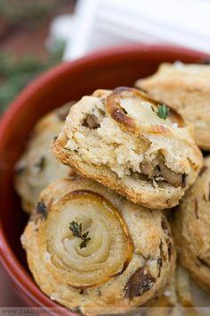 Mushroom Onion Scones...very tasty with fresh garlic butter!