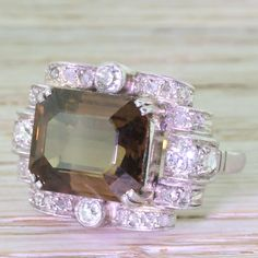 Art Deco 8.14 Carat Orangey Brown Sapphire Cocktail Ring, circa 1935 from gatsby-jewellery on RubyLUX