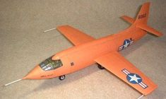 Thisaircraft paper model is a Bell X-1 (XS-1),a joint National Advisory Committee for Aeronautics-U.S. Army Air Forces-U.S. Air Force supersonic research