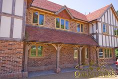 A traditionally crafted oak framed porch with three columns. Porch Extension, House Extension Plans, Extension Ideas, Modern Front Door, Front Doors, Porch Roof, Front Porch, Porch Canopy, Lean To Roof