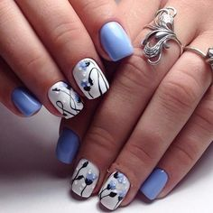 Beautiful nail art designs that are just too cute to resist. It's time to try out something new with your nail art. Fabulous Nails, Gorgeous Nails, Pretty Nails, Blue Nails, My Nails, Art Simple, Beautiful Nail Art, Stunningly Beautiful, Flower Nails