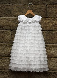 so cute I was thinking the other day about a blessing dress out of ruffle fabric! Baby Blessing Dress, Baby Dress, Baptism Dress, Christening Gowns, Baby Baptism, Little Girl Dresses, Girls Dresses, Flower Girl Dresses, Ruffle Fabric
