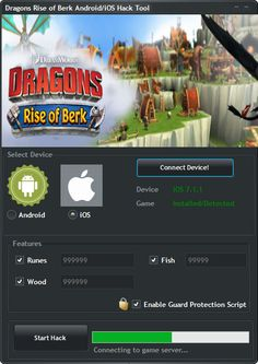 Dragons Rise of Berk Hack Tool (Android/iOS)   Dragons Rise of Berk Hack Tool(Android/iOS)  We want to present you an amazing tool calledDragons Rise of Berk Hack Tool. With ourDragons Rise of BerkTraineryou canget unlimited Runes Fish and Wood.Our soft works on allAndroidand iOS devices. It does not require any jailbreak or root. OurDragons Rise of BerkCheatis very easy to use. Just Connect your device select the device check the optionsyou want to add click on the buttonStart Hackand youre…