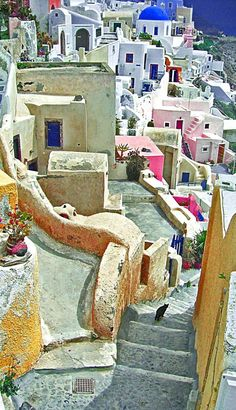Streets of Oia on the northern tip of Santorini. Greece