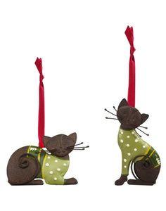 Christmas Sweater Cat Ornament Set of 2