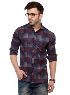 e7dc70bf38e Hangup Maroon Cotton Slim Fit Casual Shirt For Mens