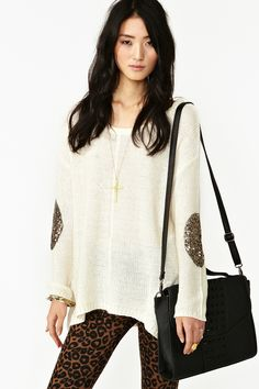 Sequin Patch Knit in Ivory