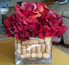 Flower arrangement using my old champagne and wine corks Valentine Flower Arrangements, Champagne Corks, Wine Corks, Wine Bottles, Raspberry, Table Settings, Decor Ideas, Craft Ideas, Crafty