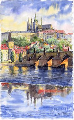 Prague Castle with the Vltava River 1 by Yuriy Shevchuk - watercolor