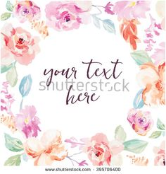 Watercolor Flower Frame. Vector Watercolor Flower Background. Vector Watercolour Flowers - stock vector