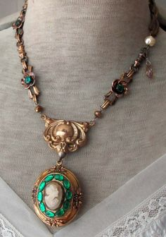 cameo en vert vintage assemblage necklace with by TheFrenchCircus, $150.00