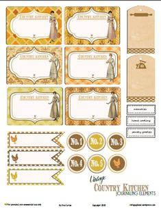 vintage glam studio: Free Printable Download Country Kitchen Journaling Elements