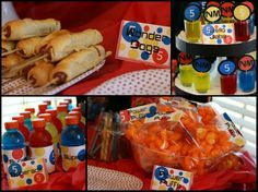 Party Food  The party food was clever and very five year old boy friendly. The kids enjoyed Wonder Dogs (homemade corn dogs), Jello Jabs (portioned jello), Power Puffs (cheese puffs) and Superade (Gatorade). I loved how she used the red, yellow and blue color theme throughout the party from the capes to the balloons to the food.