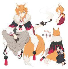 Anime Wolf, Anime Fox Boy, Neko Boy, Anime Guys, Stray Dogs Anime, Bongou Stray Dogs, Fantasy Characters, Anime Characters, Character Art