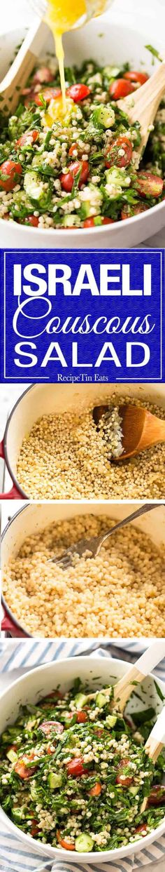 This Israeli Couscous Salad is fabulously addictive! Tender, flavour infused beads of couscous tossed with spinach, tomato, cucumber, herbs and a fresh lemon dressing. Summer in a bowl! Israeli Couscous Salad, Couscous Salat, Couscous Recipes, Salad Recipes, Spinach Recipes, Vegetable Recipes, Vegetarian Recipes, Cooking Recipes, Healthy Recipes
