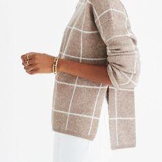 Windowpane Turtleneck Sweater