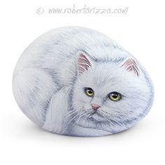 Sweet White Cat Painted on A Sea Stone | Rock Art by Roberto Rizzo