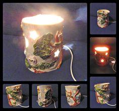 HANDMADE CERAMIC LAMP with 6 small owls