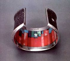 "Charles Loloma, Hopi, Mosaic, tufa cast bracelet. This style was first created by Loloma for a friend with ""hidden beauty."" For the artist biography, see ""American Indian Jewelry I & II,"" by Gregory and Angie Schaaf"