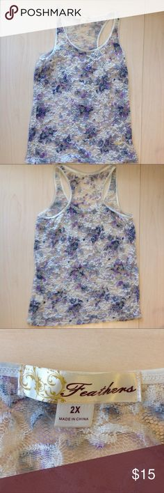 🚨 Laced Lavender Flowered Tank Top | Feathers Laced Lavender Flower Design Summer Tank Top Brand: Feathers Size: 2X Can Be Worn Loose or Fitted Excellent Condition Never Worn No Flaws Smoke Free Home NO TRADES  NO HOLDS Bundles Are 10% Off of 2+ Items! Ask Any Questions! Make Any Offer! Buy it Before it's Sold! Feathers Tops Tank Tops