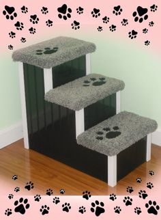 Cute Designer Pet Steps for Beds #DogSteps #DogStairs #PetSteps #PetStairs #DogStepsForBeds #PetStairsForBeds #SeniorDogs #DisabledDogs
