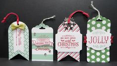 Sneak Peek Stampin' Up 2015 Holiday catalog Oh What Fun Tag Project Kit made by Lynn Gauthier. 4 More tags