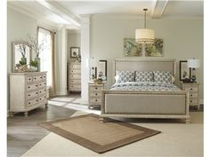 A little bit rustic with cottage style, this master bedroom collection features transitional style details for a vintage casual appeal.