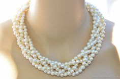 Zara Necklace  5 strand twisted elegance white by BoldRocksJewelry, $59.00