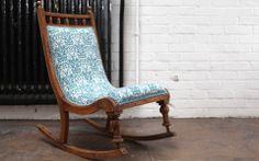 BrainChair fabric by Fanny Shorter covering a beautiful Edwardian rocking chair