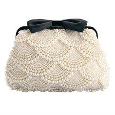 Ethel Handmade Women Beading Evening Bags Beige Pearls with Black Bow Bridal Clutch Purse Chain Crossbody Bag Sacs Bolsas Beaded Purses, Beaded Bags, Pearl And Lace, Vintage Purses, Vintage Hats, Crochet Bags, Beautiful Bags, Clutch Purse, Crossbody Bag