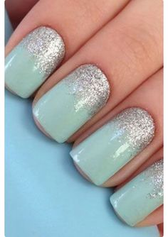 Opting for bright colours or intricate nail art isn't a must anymore. This year, nude nail designs are becoming a trend. Here are some nude nail designs. Nail Lacquer, Nail Polish, Mint Nails, Glitter Nails, Silver Glitter, Mint Green Nails, Mint Acrylic Nails, Silver Sparkle Nails, Purple And Silver Nails