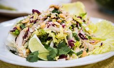 Home & Family - Recipes - Cristina Cooks Wolfgang Puck's Chinois Chicken Salad Savory Salads, Appetizer Salads, Healthy Salads, Wolfgang Puck Recipes, Salad Sauce, Cooking Recipes, Healthy Recipes, Chef Recipes, Recipes