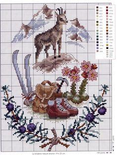 hiking deer Cross Stitch Love, Cross Stitch Animals, Cross Stitch Flowers, Cross Stitching, Cross Stitch Embroidery, Hand Embroidery, Cross Stitch Patterns, Christmas Embroidery Patterns, Flower Embroidery Designs