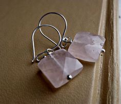 Rose Quartz square gemstone with Sterling silver earrings, jewelry, http://www.mckeejewelrydesigns.com/ 	 Andria McKee, McKee Jewelry,  McKee Jewelry Designs,   Hand made jewelry, jewellery