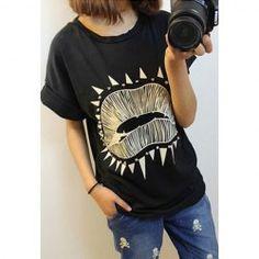 Casual Lip Printing Stud Embellished Cotton Blend T-Shirt For Women (BLACK,ONE SIZE) China Wholesale - Sammydress.com