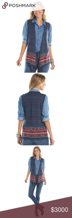 *COMING SOON* Chaps Open-Front Sweater Vest Chaps Open-Front Sweater Vest. Blue with multi-colored tribal design. NWT Chaps Jackets & Coats Vests