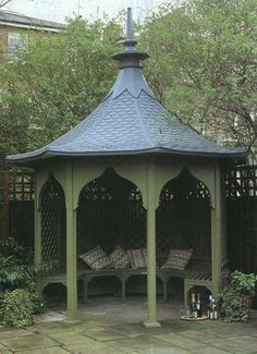 Green Gazebo With Wine Tray Hillside Garden, Garden Gazebo, Backyard Patio, Garden Beds, Backyard Landscaping, Landscaping Ideas, Gazebo Plans, Gazebo Pergola, Outdoor Gazebos