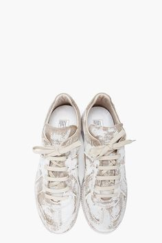 White Painted Juta Sneakers