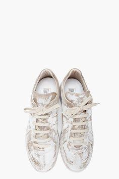 White Painted Juta Sneakers