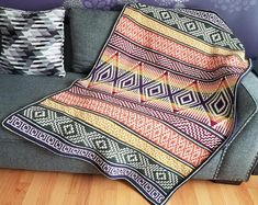Thassos Mosaic Crochet Blanket instant download PDF pattern | Etsy Crochet Pillow, Tapestry Crochet, Crochet Blankets, Blanket Crochet, Crochet Afghans, Crochet Squares, Crochet Stitches, Crochet Chart, Crochet Blanket Patterns