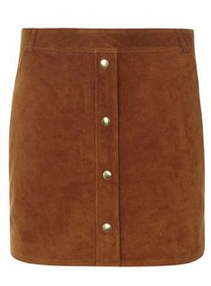Premium Tan Button Front Suede Skirt