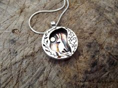 Silver hare pendant, hare and moon, silver and gold, Handmade jewellery, Gift, romantic jewelry, folklore art, rabbit pendant