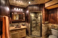 Looking for ideas for our master bath in a log cabin home. It's hard to decorate/remodel since there is so much brown/wood every where. # Pinterest++ for iPad #