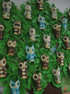 Toilet paper roll Owls in a paper plate tree