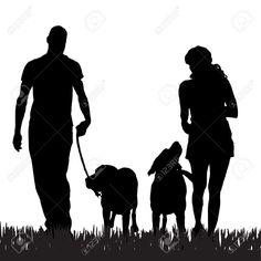 man walking dog silhouette - Google Search