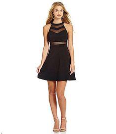 Honey and Rosie Sleeveless Illusion Skater Dress | Dillards.com